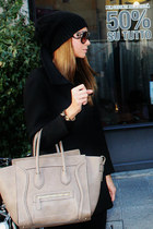 black Zara coat - black Zara hat - light brown Celine bag