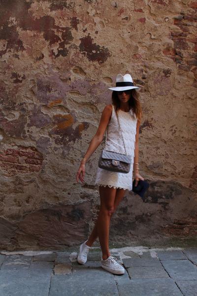 white hat - eggshell H&M dress - charcoal gray Chanel bag