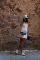 white hat - eggshell H&M dress - charcoal gray Chanel bag
