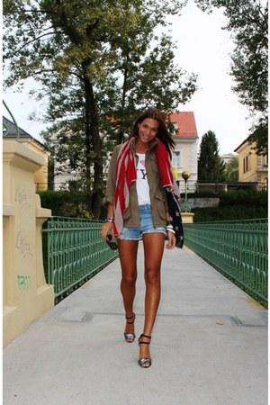 Zara shirt - Don Gil shirt - H&M jacket - Zara shorts - Zara heels