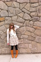 white Jacob shirt - tawny thrifted boots - light brown thrifted skirt