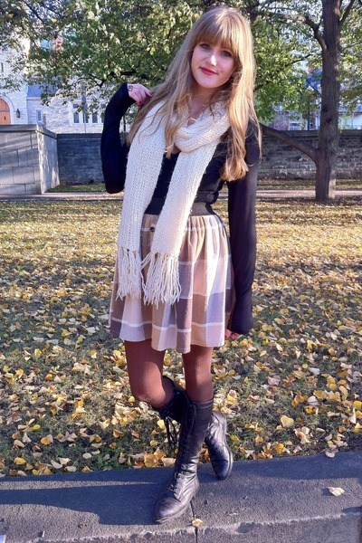 brown plaid handmade skirt - black vintage boots - cream knit gifted scarf
