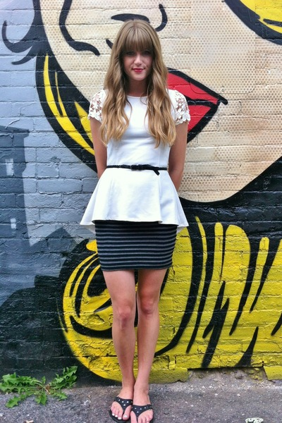 white via chicwish LuLus top - black Guess skirt - black thrifted belt