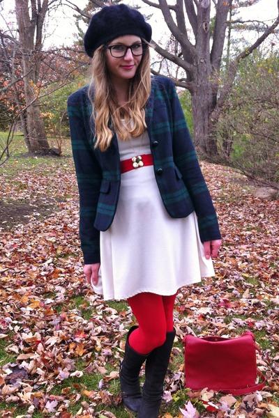 navy Gap blazer - white thrifted dress - black beret thrifted hat - red DIY belt