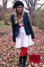 White-thrifted-dress-black-beret-thrifted-hat-navy-gap-blazer-red-diy-belt