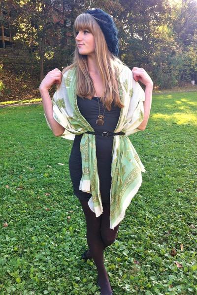 cream thrifted scarf - dark green thrifted dress