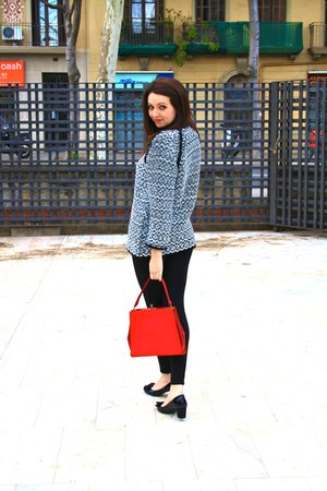 black Zara leggings - red vintage vintage bag - black Marks &amp; Spencers heels