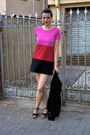 Hot-pink-3-block-colours-h-m-dress-black-zara-jacket