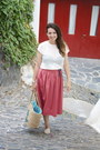 White-opaque-stradivarius-top-salmon-midi-skirt-zara-skirt-tan-paez-flats
