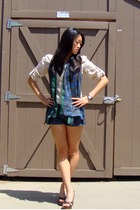 Bakers shoes - Forever21 shorts - Express blouse - vintage scarf