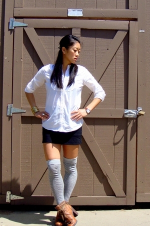 banana republic shirt - Hong Kong skirt - Target socks - Nine West boots - Forev