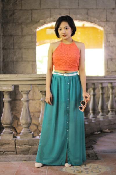 Nava skirt - Forever 21 sunglasses - suiteblanco heels - Forever 21 top