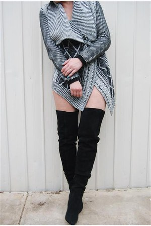 thigh high tony bianco boots - wool bardot cardigan