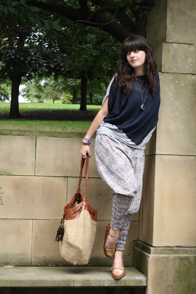 blue Ebay pants - brown Ebay shoes - gray Topshop top - beige H&M bag - silver C