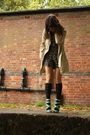 Blue-asos-shoes-black-socks-beige-coat-gray-topshop