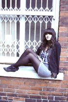 black Topshop blazer - black H&M tights - gray Topshop skirt - black Vintage Wai