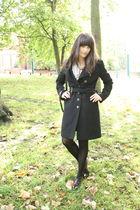 black Topshop coat - brown thrifted shoes - blue Ebay shirt - black vintage bag