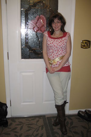 red SO top - white Forever 21 top - gold SO I think belt - white handed down pan