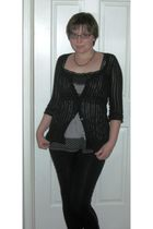 purple Mary Kay accessories - black N&C top - white derek heart blouse - black D