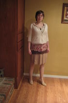 beige necklace - beige sweater - brown top - beige skirt - beige tights - beige