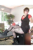 white Forever 21 blouse - black Forever 21 shorts - black Forever21 tights - red