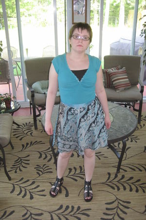 blue eyeshadow shirt - black ambiance apparel dress - blue India Botique skirt -