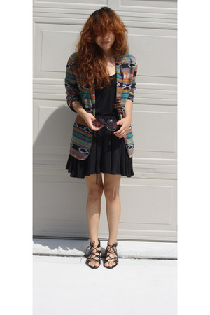 black drawstring f21 dress - dark green thrifted ethnic vintage blazer - black m