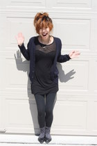 black comfy f21 dress - black slowly dying Mossimo leggings - charcoal gray leop