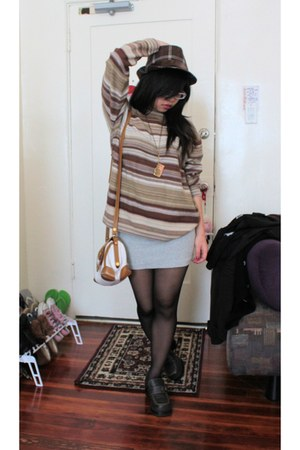 brown thick clogged shoes - silver striped sweater - camera necklace