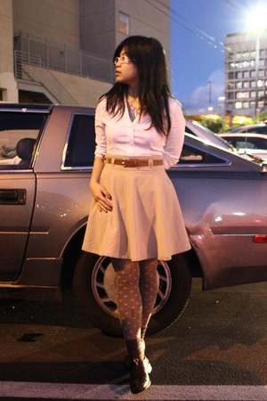 Forever 21 tights - thrift oxfords shoes - Forever 21 skirt - Express blouse
