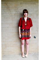 red vintage dress - beige BCBGgirls shoes - black Express necklace - orange Fore