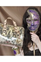 deep purple mask accessories - gold mirror Michael Kors bag