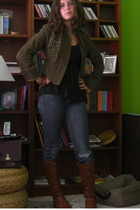 Forever21 boots - Target shirt - Gap jeans - strawberry jacket