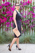 black PIOL dress - nude straw Helen Kaminski bag