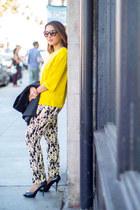 yellow Zara sweater - black Zara vest - Zara pants