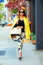 yellow Zara coat - white Chloe bag - white Zara pants