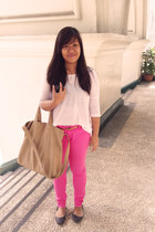 camel Zara bag - hot pink Forever 21 pants - white cotton on top