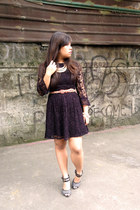 black lace Topshop dress - dark gray Charles & Keith heels