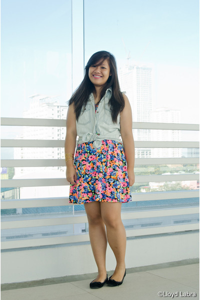 black black shoebox flats - floral print Forever 21 dress - denim Next Jeans top