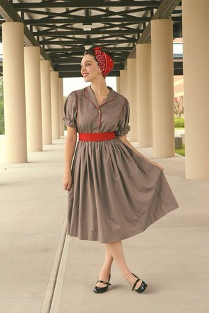 heather gray vintage dress - red bandana scarf