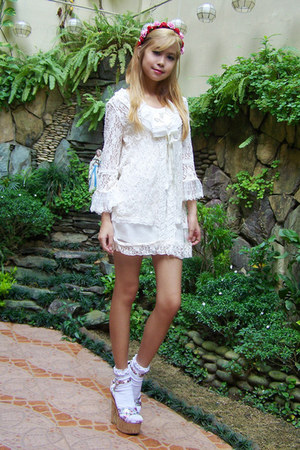 lace from singapore cardigan - Forever 21 dress - floral DIY hat