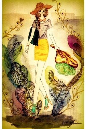 hat - shirt - bag - skirt - necklace - sandals