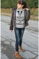 gray Ovs Industry coat - blue Terranova jeans