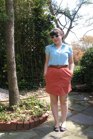 blue Old Navy shirt - white vintage sunglasses - orange vintage from Ebay skirt