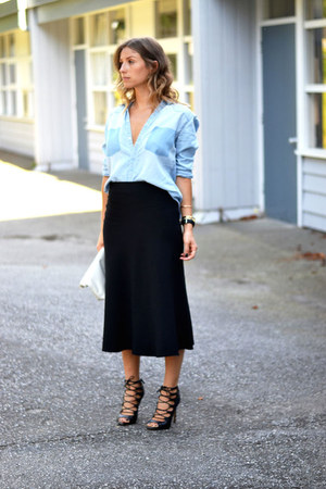 H&M blouse - black lace up Zara heels