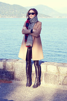 camel wool H&M coat - black Topshop boots - faux leather Aritzia leggings