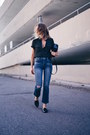 Navy-cropped-flare-express-jeans-express-shirt
