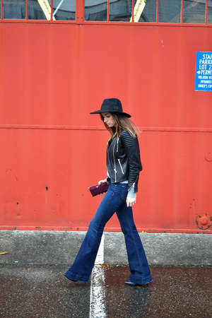 wool fedora asos hat - flared J Brand jeans - leather H&M jacket