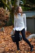 white Zara blouse - black patent booties Zara boots