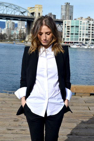 black Mango blazer - black Aritzia pants - white Zara blouse